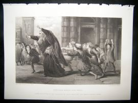 Children 1873 Steel Engraving. Shylock after the Trial